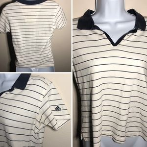 Adidas vintage climalite striped collared tee
